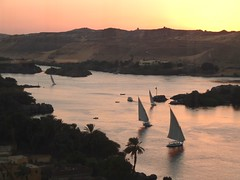 Sunset over the Nile (sara77_zid) Tags: africa sunset river boats sara tramonto fiume barche nile vela egitto 2010 nilo feluca 5photosaday ehypt