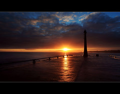Beacon (angus clyne) Tags: sunset wild orange cloud storm haven wet water easter ship bright wind harbour fife dusk south under scottish wave windy stormy east forth beacon anstruther firth breakwater gloaming clow digitalcameraclub nuek 100commentgroup