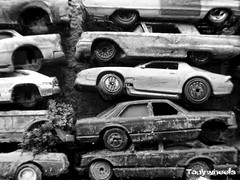 Rusty (tonywheels) Tags: bw broken car miniature nw wheels rusty voiture hotwheels 164 junkyard casse wrecked rouille diecast