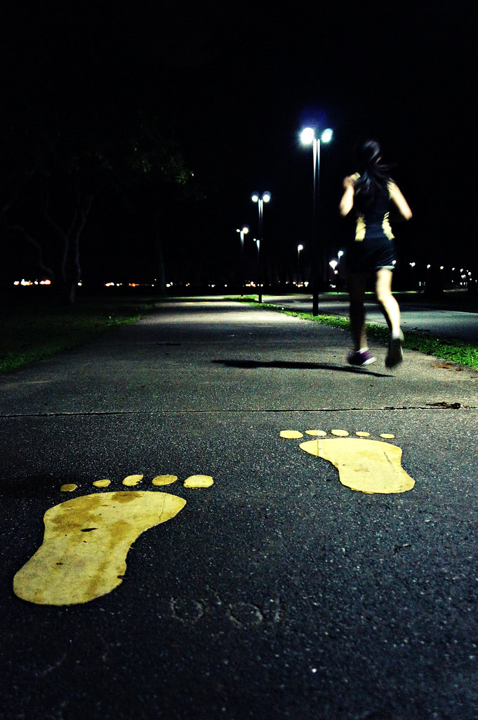 Saturday night jogger at East Coast Park