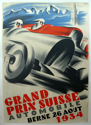 004-Grand Prix Suisse, 1934-© 2010 Vintage Auto Posters. All Rights Reserved
