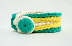 Debra - A crocheted fiber bangle in bright yellow, cream and deep green (Melbangel acct #2) Tags: green yellow modern singapore crochet cream jewellery yarn trendy button accessories cuff fiber timeless wristcuff melbashoppe