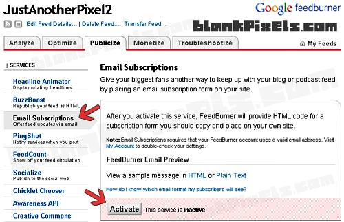 Activate Feedburner's Email Subscriptions - blankpixels.com