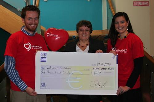 Irish Heart Foundation Cheque Handover