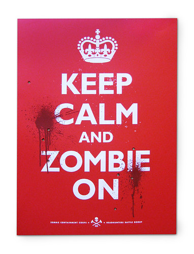 Keep Calm and Zombie On Poster - Red