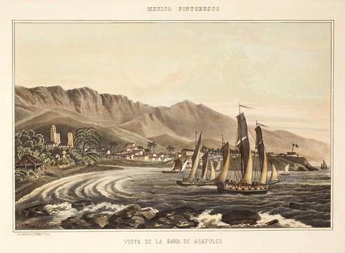 017-Vista de la bahia de Acapulco- Album Pintoresco de la Republica Mexicana 1850