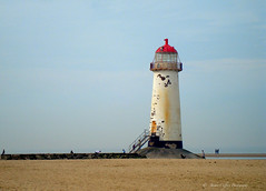Talacre Lighthouse. (pixiepic's) Tags: sea sky people lighthouse beach sand steps disused supershot