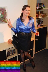 Good news! (Rikky_Satin) Tags: silk satin blouse pencil skirt pvc vinyl pumps highheels handbag crossdresser transvestite transgender tranny sissy secretary office attire fashion feminization femboi