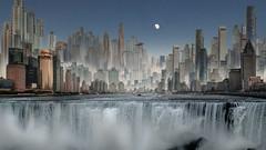 Metropolis Falls (Bernd Thaller) Tags: water waterfall city metropolis shanghai fantasy graphic experiment