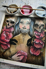 Emilia - done! (The Girl with the Flaxen Hair) Tags: natidraws illustration mixedmedia mangaart traditionalart gothicart macabreart deathandthemaiden watercolor ink painting workinprogress artistsonflickr animemanga victorianage victorian etsy etsyshop etsyseller skull ghosts surreal