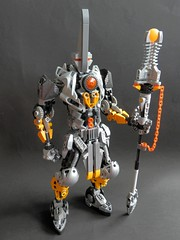 Vector (Kingmarshy) Tags: lego bionicle moc vector revamped revamp creation original titan sentinel guardian orange yellow silver large fusion