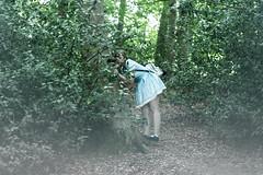 Alice in Wonderland (Edd144) Tags: nikon d7100 50mm 18 nailsworth uk town villiage england country countryside forrest tree trees woods bush bushes alice wonderland aliceinwonderland bluedress fog smoke atmospheric smog hug