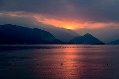 orange lake (alain01789) Tags: italie lac majeur major lake sunset crepuscule light lumiere landscape paysage orange colors couleurs boromée sun soleil nuages clouds island ile velvia mountains