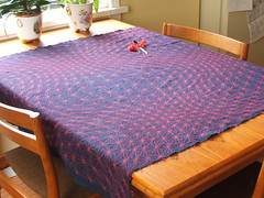 15 months of Sashiko (water-fall) Tags: flower olympus tablecloth wavy hemp sashiko kallistiquilts