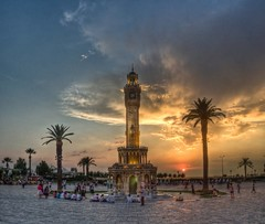 Clock Tower in Sunset, Izmir (Nejdet Duzen) Tags: trip travel sunset cloud tower turkey square trkiye palm clocktower palmiye konak izmir bulut gnbatm kule meydan turkei seyahat saatkulesi saariysqualitypictures