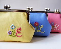 custom embroidered pouches (oktak_ny) Tags: handmade purse custom embroidered framepouch