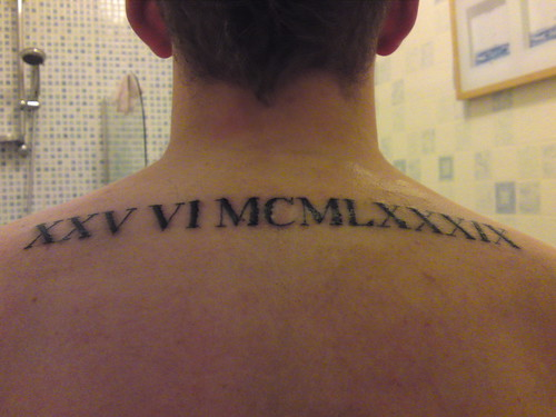 1My First Tattoo Roman Numerals