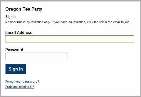 Oregon Tea Party Login