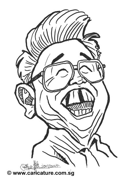 digital caricature sketch of Dictador comunista- simple small