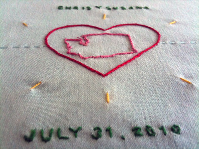 "Embroidered ""Guest Book"" I made, for Chris and Susana's wedding"