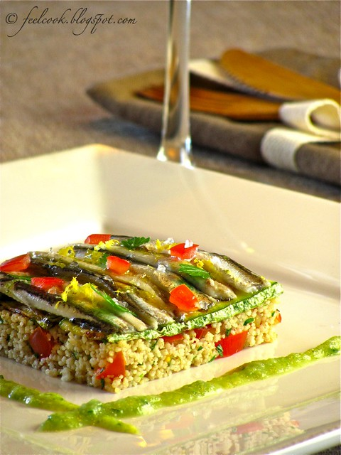 Tortino di cous cous e alici marinate