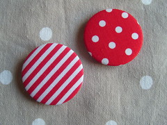Red spot and Stripe (Lilies and Daisies) Tags: magnets badges compactmirrors