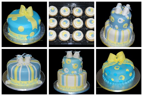 Blue and Yellow Baby Shower Cake Collage