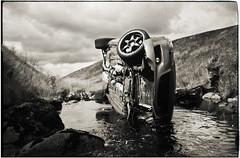 day after the crash (gorbot.) Tags: blackandwhite bw glasgow rangefinder ilfordhp5 35mmfilm carcrash mazdarx8 konicahexarrf campsiefells mmount epsonv700 ilfotechc august2009 voigtlander35mmultronf17
