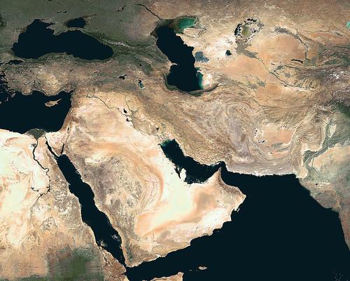 16西亞無雲衛星影像圖