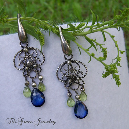 sapphire and peridot filigree earrings