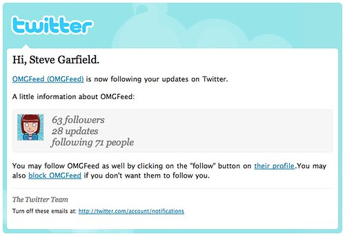 OLD - Is now following you on twiter email