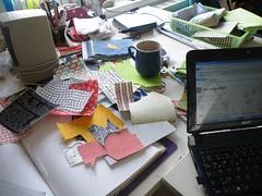 HELP!!!! (monaw2008) Tags: chaos handmade sewing working fabric cutting workspace applique mugrug monaw monaw2008