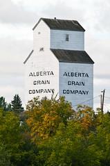 Alberta Grain Company Elevator (Kurayba) Tags: autumn trees red white canada macro fall saint st pentax albert elevator grain sigma apo company trail willow alberta 400 f56 k7
