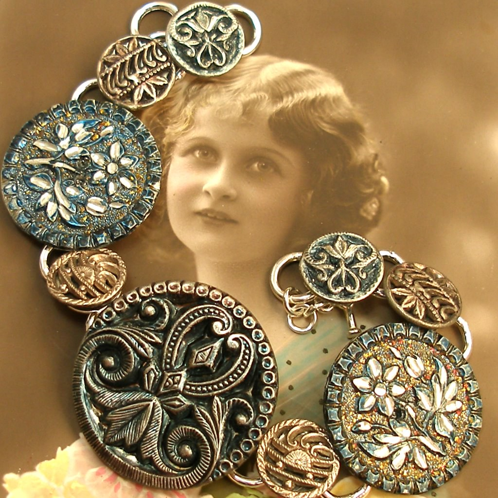 1800's Antique Victorian button silver bracelet, Wuthering Heights.