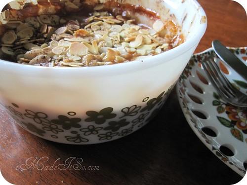 pear crisp in a vintage pyrex casserole dish