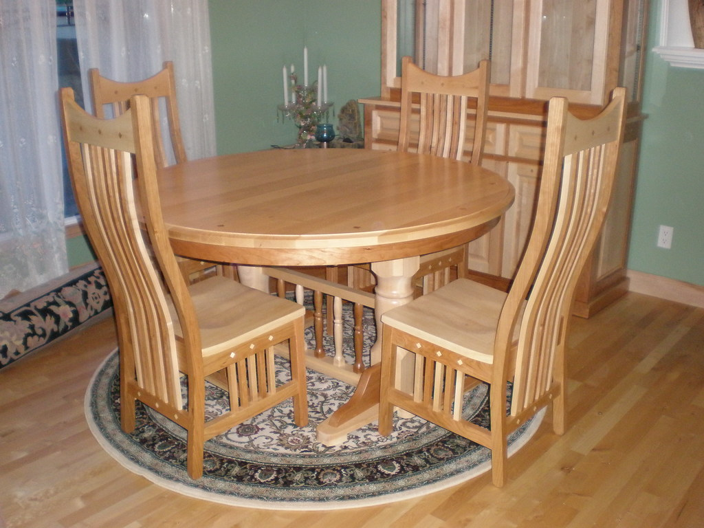 Round Double Pedestal Mixed Wood Cherry / Hickory Table and Western Chairs
