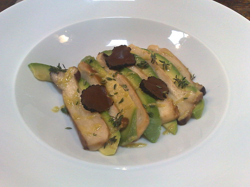 King oyster mushroom and avocado 'carpaccio' with grated black truffle, drizzled with jalapeno oil