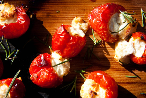 Pepperdews stuffed with goat cheese