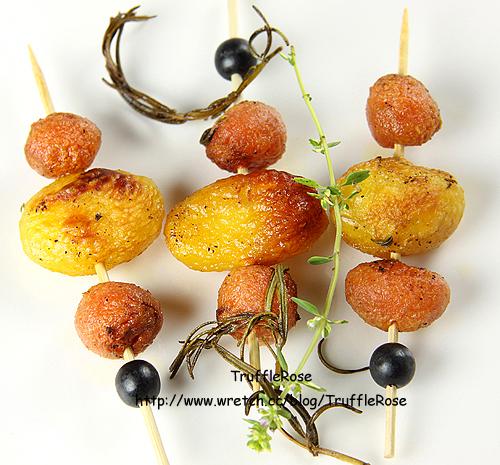 鴨油烤馬鈴薯和胡蘿蔔。無緣的烤全鴨-100910