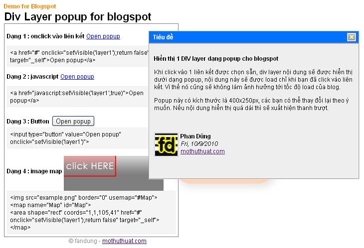 Div Layer Dạng PoPup Cho Blogger - Blospot