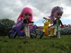 Ham and Fluffy park their bikes at Wharfe Meadows, Otley