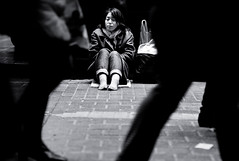 Inscrutable Loneliness (Gerald Verdon) Tags: street leica city people urban bw copyright woman feet japan night contrast dark sadness tokyo justice asia solitude mood loneliness time fav50 shibuya citylife rangefinder fav20 nb summicron depression m8  barefeet  asie nightlife  bodyparts fav30 emotions confusion japon bizarre apathy verdon humannature characteristics weakness humancondition vulnerability socialissues humanism fav10   fav40 fav60  fav70 japaninbw blackandwhiteonly hommageadoisneau thechallengefactory fotocompetitionbronze stphotographia societyvalue allrightsreservedgraldverdon wwwambiluxorg