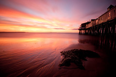 Old Orchard Beach Dawn Long Exposure (moe chen) Tags: ocean old seascape beach rock clouds sunrise dawn coast pier nikon long exposure maine sigma orchard moe 1020mm chen