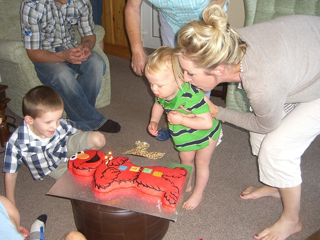 Birthday candles with Auntie Emma