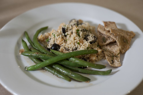 Green Beans, Lemony Couscous, Pita Chips