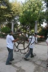 Walking away with a chandelier (quinn.anya) Tags: turkey furniture istanbul chandelier theft artifact hagiasophia stealing ayasofya