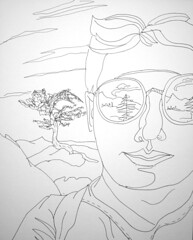 Almost at the Overview on the Tyler Lake Trail: 2007.07.26 (Julia L. Kay) Tags: sanfrancisco portrait blackandwhite bw white selfportrait black mountains art face pen self paper landscape sketch san francisco artist arte julia kunst autoretrato kay daily dessin line peinture portraiture 365 everyday dibujo dpp contour desolationwilde