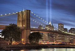 911 Memorial Lights - New York City (DiGitALGoLD) Tags: new york city newyorkcity bridge light night lights nikon memorial exposure shot manhattan worldtradecenter tripod 911 9 september brooklynbridge twintowers 11th nikkor f28 hdr gitzo d3 tributeinlight 2010 2470mm 2470 911memoriallights