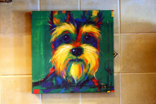 in the kitchen ~ Yorkie painting
