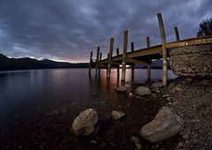 Derwent Water (night photographer) Tags: light lake motion blur water clouds painting landscape long exposure district jetty derwent cumbria keswick 580ex